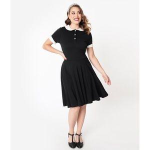Unique Vintage Black Collared Dress